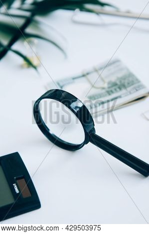 Calculator, Paper Money On Light Background. Family Budget Concept And Investing. Close Up