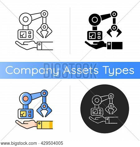 Machinery Owning Icon. Manufacturing Robot Arm. Hand Holds Mechanism. Industrial Plant Equipment. Ar