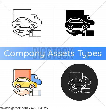 Company Owned Vehicles Icon. Buying A Car For Business Use. Truck And Automobile On The Human Hand.