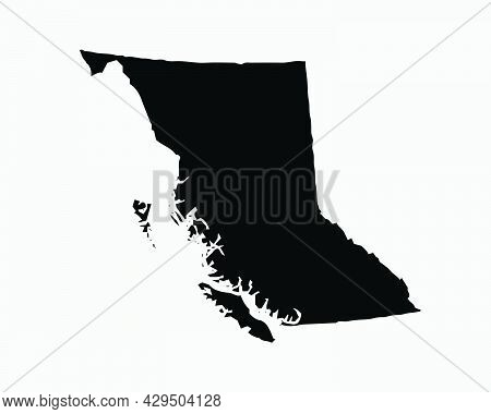 British Columbia Canada Map Black Silhouette. Bc, Canadian Province Shape Geography Atlas Border Bou