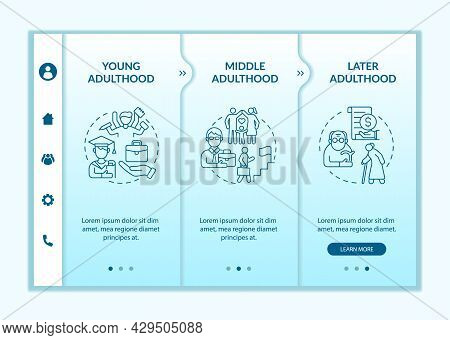 Stages Of Adulthood Onboarding Vector Template. Personal Realization. Responsive Mobile Website With