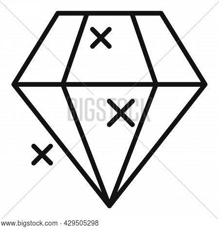 Shiny Diamond Icon Outline Vector. Brilliant Gemstone. Stone Gem