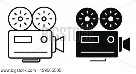 Linear Icon Old Camcorder. Filming Movie On Retro Instrument. Film Recording Of Movie. Simple Black
