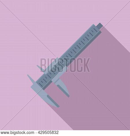 Caliper Scale Icon Flat Vector. Calliper Vernier. Micrometer Tool