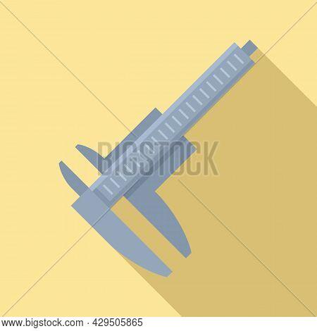 Precision Caliper Icon Flat Vector. Calliper Vernier. Micrometer Measure