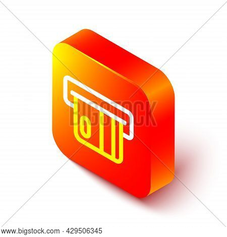 Isometric Line Credit Card Inserted In Card Reader Icon Isolated On White Background. Atm Cash Machi