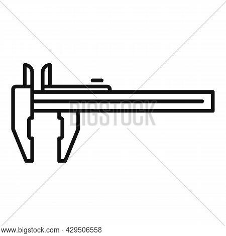 Caliper Icon Outline Vector. Vernier Calliper. Rule Micrometer