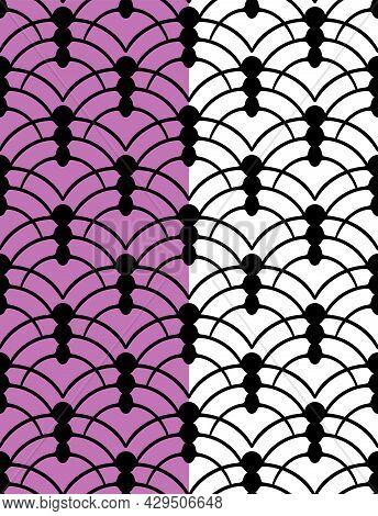 Hand Painted Ink Black Cicle Elements. Curved Grid Seamless Pattern. Lilac, White Easy Editable Colo