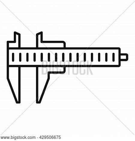 Caliper Tool Icon Outline Vector. Dial Calliper. Micrometer Scale