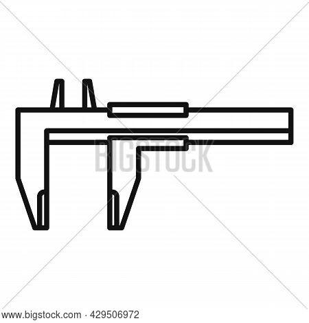 Engineering Caliper Icon Outline Vector. Calliper Vernier. Micrometer Tool