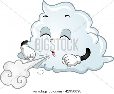 Illustration of Wind-blowing Mascot Cloud