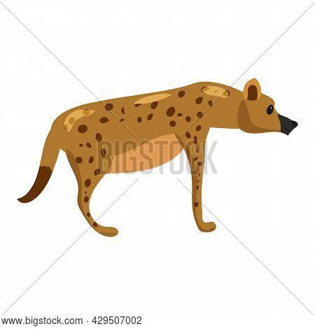 Hyena Wild African Animal, Scavenger Predator. Vector Illustration Cartoon Style