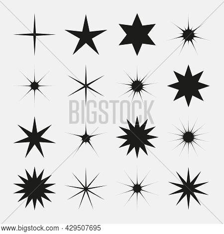Set Of Vector Stars Sparkle Icon. Bright Firework, Twinkle, Shiny Flash. Sparkles Symbols Vector. Gl