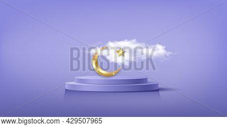 Luxury Islamic Podium With Gold Crescent Moon, Traditional Islamic Symbols. 3d Horizontal Arabic Ban