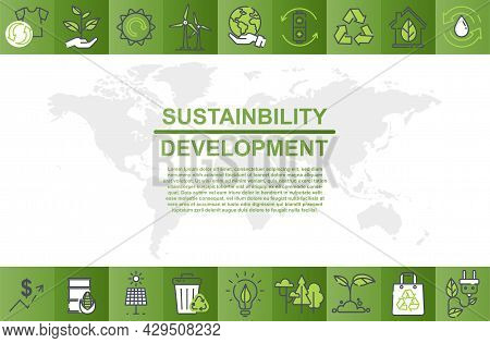 Colorful Poster Design For Sustainability Development And Global Green Industries Business. Concept