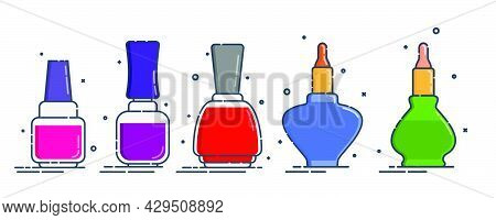 Set Of Cosmetic Containers Nail Polish In Row. Female Fashion Product. Five Plastic Or Glass Bottle.