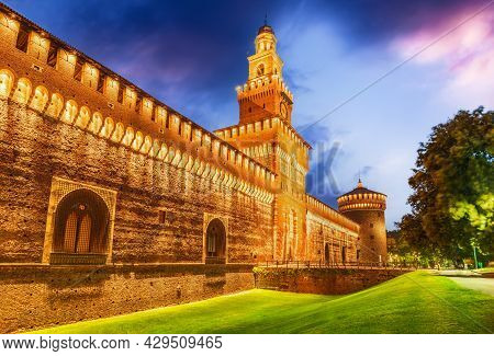 Milan, Italy - Sforza Fortification Old Medieval Milano, Lombardy