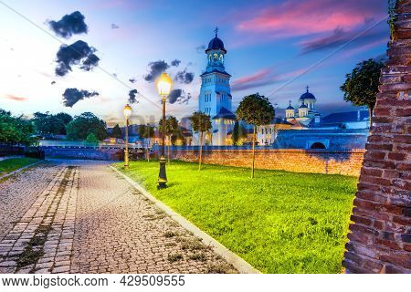 Alba Iulia, Romania. Alba Carolina, Medieval Walled City In Transylvania, Night Scene With Famous Pl