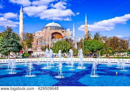 Istanbul, Turkey - Hagia Sophia, Ayasofya Ancient Byzantine Empire Cathedral, Nowday Mosque In The O