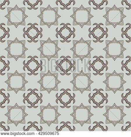 Seamless Illustrated Pattern Made Of Abstract Elements In Beige And Shades Of Brown And Gray