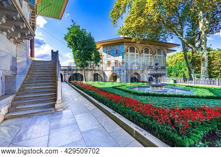 Istanbul, Turkey - September 2020: Rose Garden Of Baghdad Kiosk Inside Topkapi, Constantinople Built