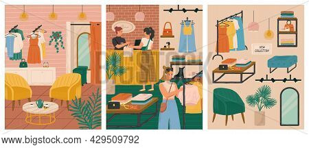Fashion Store Vector Illustration Set. Woman Buying Dress In Modern Fashion Boutique. Design Clothes