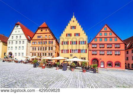 Rothenburg Ob Der Tauber, Germany. Main Square (marktplatz Or Market Square) Of Medieval Town In Bav