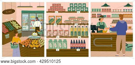People Shopping In Grocery Store Or Supermarket Concept Vector Illustration Set. Shop With Organic F