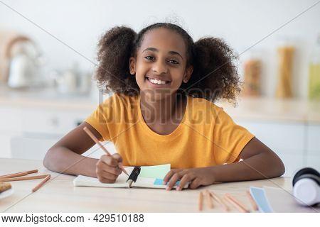 Cheerful African American Teen Girl Doing Homework