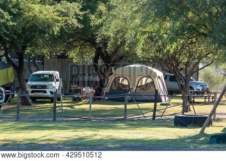 Beaufort West, South Africa - April 3, 2021: Camping At Steenbokkie Nature Reserve Near Beaufort Wes