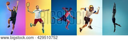 Collage Of Different Professional Sportsmen, Fit People In Action And Motion Isolated On Color Backg