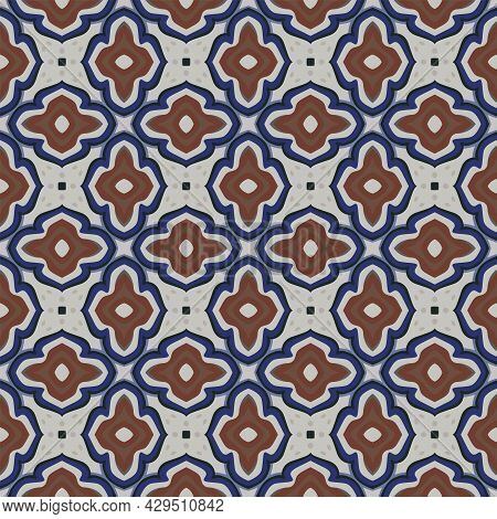 Seamless Illustrated Pattern Made Of Abstract Elements In Ligt Gray And Shades Of Blue And Brown