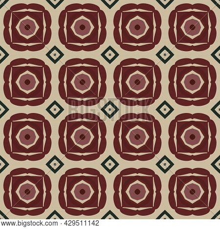Seamless Illustrated Pattern Made Of Abstract Elements In Beige, Green And Shades Of Brown