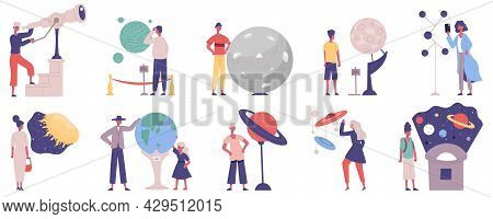 Planetarium, Astronomy Observatory Scientific Exhibition Visitors Characters. Astronomy Solar System