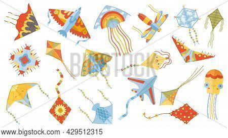 Cartoon Children Games Paper Flying Kites Toys. Summer Outdoor Activity, Kite Festival Flying Kites