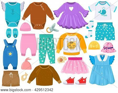 Cartoon Childrens Fashion Outfits Clothes, Shoes, Hats. Baby Clothes Elements, Pants, Dress, Romper,