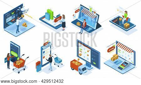 Isometric Mobile E-commerce Online Shopping Concept. People Make Purchases Use Mobile Apps And Payme