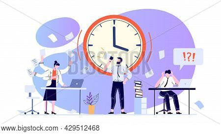 Time Management Concept. Employees Working At Office To Meet Deadline. Anxious Office Workers In Pan