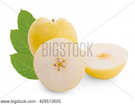 Fresh Asian Chinese White Pear (pyrus Pyrifloral, Nashi Pear) Or Yellow Pear Fruit, Isolated On Whit