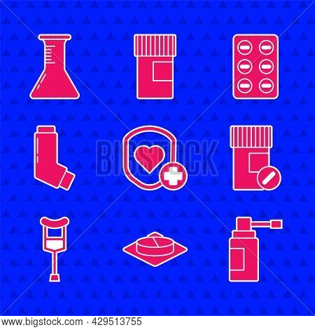 Set Shield And Heart Rate, Medicine Pill Or Tablet, Medical Bottle With Nozzle Spray, Pills, Crutch