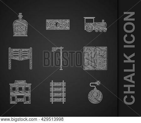 Set Tomahawk Axe, Railway, Railroad Track, Bomb Ready To Explode, Treasure Map, Wild West Saloon, Sa