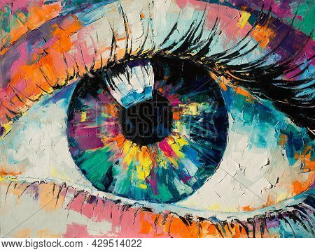 Fluorite - Oil Painting. Conceptual Abstract Picture Of The Eye. Conceptual Abstract Closeup Of An O