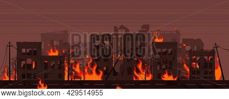 Destroyed City On Fire Vector Illustration Eps10. City In Fire