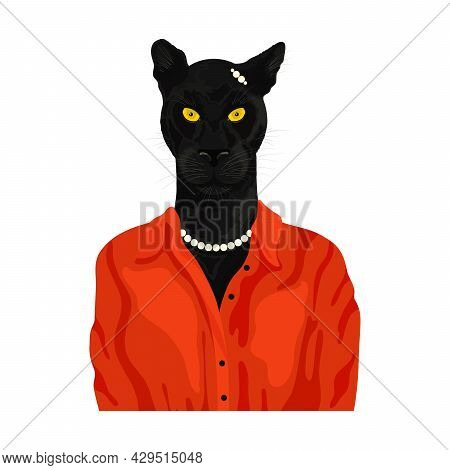 People Art Animal Panther, Character Portrait Animal In Red Cloth Fashion. Hipster Animal. Vector Il
