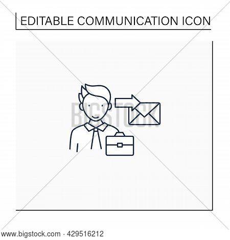 Sender Line Icon. Initiates Communication, Sending Messages. Communicator. Effective Communication C