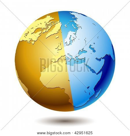 Planet earth isolated on a white background. Illustration, vector. poster