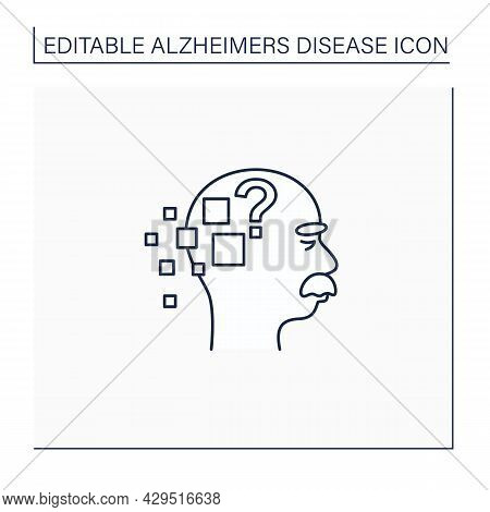 Alzheimer Disease Line Icon. Memory Loss.destroys Memory, Thinking Skills.repeating Questions, Losin