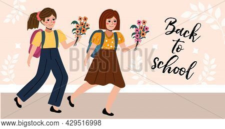 Schoolgirl With Flowers In A Flat Style. Back To School Concept. Little Girl Student. Vector Illustr