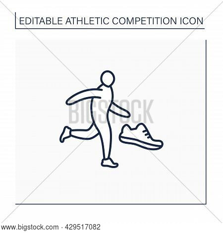 Running Line Icon. Physical Exercise. Person Run Marathons. Individual Sport. Athletic Competition C
