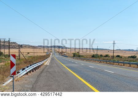 Road N6 Crossing The Caledon River Between Rouxville And Smithfield In The Free State Province. Vehi